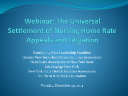 12/29/14 Webinar PowerPoint - New York State Health Facilities