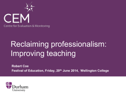 Reclaiming professionalism: Improving teaching (ppt)