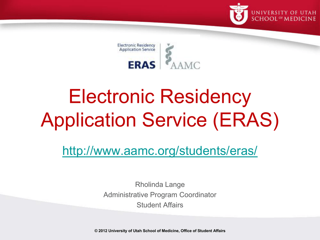 ERAS Presentation for MSIV - University of Utah
