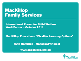 MacKillop Education - International Forum for Child Welfare