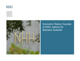 Economic History Courses at NHH: options for Bachelor students