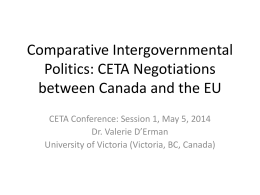 CETA Negotiations between Canada and the EU