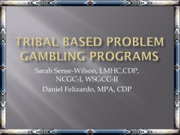 Tribal Based Problem Gambling Program