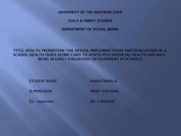 Health promotion - University of Western Cape