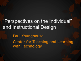 Perspectives on the Individual and Instructional Design
