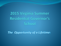 Virginia Summer Residential Governor*s School