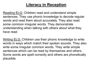 Literacy in Reception Reading ELG