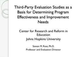 Third-Party Evaluation Studies as a basis for Determining Program