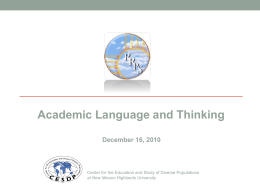 Academic Language and ELD Standards
