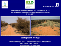ELD Policy Workshop. Ecology findings, July 2014