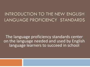 Introduction to the New English Language Proficiency Standards