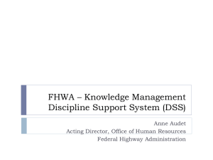 FHWA * Knowledge Management Discipline Support System (DSS)