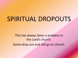 SPIRITUAL DROPOUTS - Simple Bible Studies