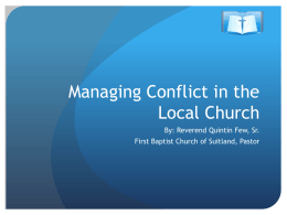 Managing Conflict Presentation - First Baptist Church of Suitland