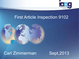 First Article Inspection 9102