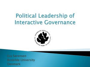 Political leadership and interactive governance