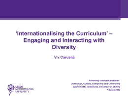 Internationalising the Curriculum