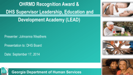 Supervisory Academy & HR Award - Georgia Association of Homes