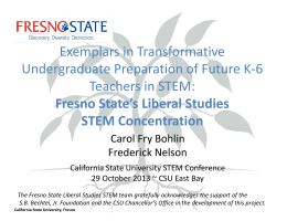 Fresno State`s Liberal Studies STEM Concentration