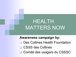 Awareness Campaign - FSDC-DCHF