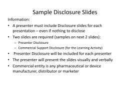 Sample Disclosure Slides