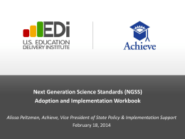 Overview of the NGSS Implementation Workbook