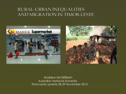 Rural- Urban Inequalities and Migration in Timor-Leste