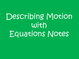 Describing Motion With Equations