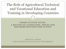 The Role of Agricultural Technical and Vocational