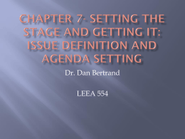 Chapter 7- Setting the Stage and Getting It