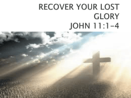 RECOVER YOUR LOST GLORY