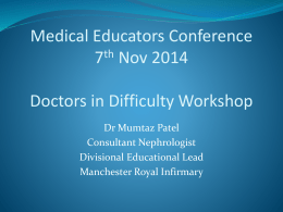 Doctors in Difficulty Workshop