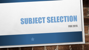 Senior Subject Selection ppt