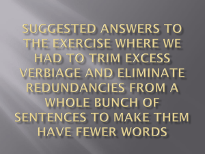 Suggested Answers to the Exercise Where We had to Trim Excess