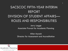 Division of Student Affairs roles and responsibilities