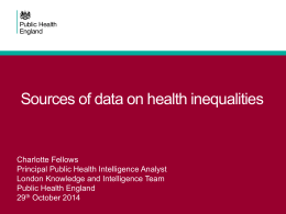 Sources of data on health inequalities