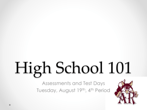 Aug 19 4th HS101 Assessments