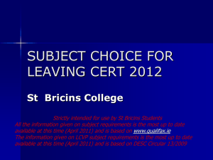 Bricins LC Subject Choice 2013 - Cavan and Monaghan Education