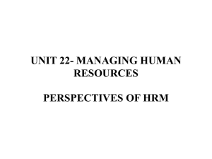 PERSPECTIVES OF HRM