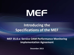 MEF 35 Specification Overview