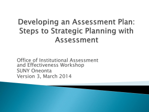 Developing an Assessment Plan, Steps to