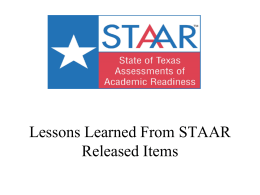 Lessons Learned from Released STAAR Items for