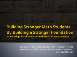 Building A Stronger Math Program By Building a Stronger