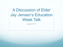 Link to Powerpoint quotes from Elder Jensen`s Talk
