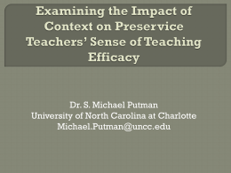 Examining the Impact of Context on Preservice Teachers* Sense of