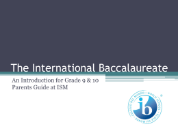 Grade 9 and 10 Parents Ib Info Night [Autosaved]