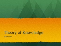 Theory of Knowledge - TOK-AIS