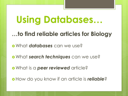 Using Databases*
