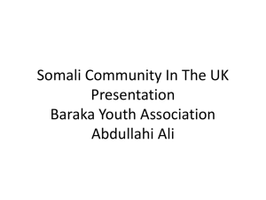 Somali Community In The UK - International Community Project