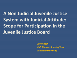 A Non Judicial Juvenile Justice System with